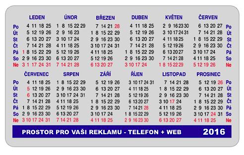 MODRÝ TISK - samolepící kalendáře